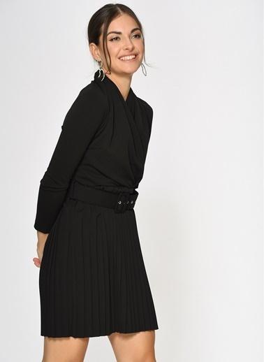 Loves You Eteği Piliseli Şal Yaka Elbise Siyah